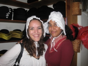 Trying on Bonnets in Colonial Williamsburg