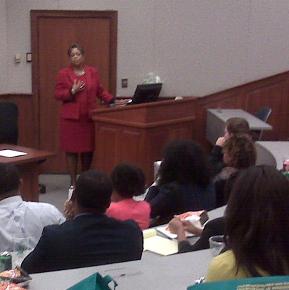Judge Conyers speaks at BLSA Law Day.